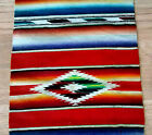 Vintage southwest striped  fringed small carpet rug lamp mat wool fabric!