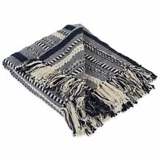 Dii Farmhouse Cotton Stripe Blanket Throw with Fringe For Chair, Couch, Picnic,