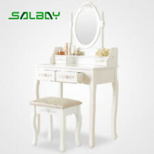 White Dressing Table Vanity Make-up Desk with 1 Mirror 4 Drawers Set with Stool