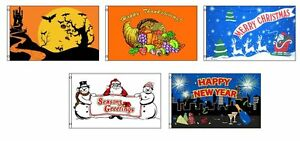 3x5 Seasonal Holiday 5 Flag Bundle Wholesale Set 3'x5' Halloween Tday Xmas NYE