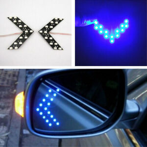 2x Blue Car Side Rear View Mirror LED 14SMD Lamp Turn Signal Light Accessories
