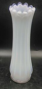 Fostoria Glass Heirloom White Opalescent Swung Vase Paneled / Ribbed
