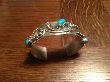 Sterling silver turquoise signed Dilbert Savatoro cuff bracelet