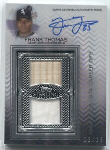 2021 Frank Thomas Topps Sterling AUTO SWINGS DUAL JERSEY BAT RELIC /25 White Sox