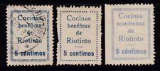 ESPAÑA - GUERRA CIVIL - RIOTINTO - COCINAS ECONOMICAS Y BENEFICAS - EDIFIL 1-5-6