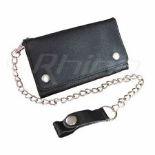 Men's Leather Motorcycle Wallet with Long Chain Biker Trucker - 6 inch