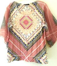 STYLE & CO. Embellished Liquid Knit Pink Yellow SHEER SLEEVE Dolman Shirt Top XL