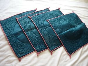 "4 Vintage Fabric Cushion Covers To Suit 17"" Insert - 1970s retro Jade Green Pink"
