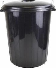 50L Black Plastic Bin Indoor Outdoor Garden Kitchen Rubbish Dustbin Locking Lid