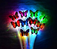 6x Butterfly LED Flashing Fiber Braids Multi Color Optic Light-Up Hair Barrette