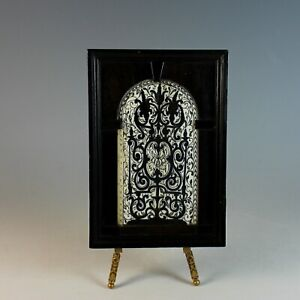 Antique Carved Plaque in Custom Wood Frame