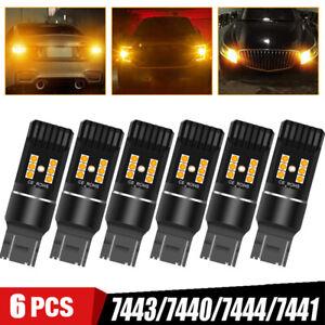 6X 7443 7440 LED Amber Yellow Turn Signal Parking Marker Tail Brake Light Bulbs