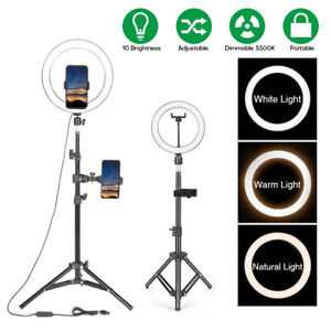 "10"" LED Ring Light with Phone Holder&Tripod Stand Kit Studio Video Beauty Selfie"