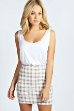 Boohoo Marcie Pastel Check Bodycon Mini Skirt Size UK 8 LF180 OO 13