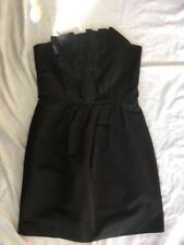 french Connection FCUK Black Satin 12 Strapless Bustiere Dress Pleats SEXY VGC