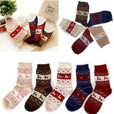 Beauty Lady Woman  Xmas Christmas Snow flake Deer Design Woman Warm Wool Sock