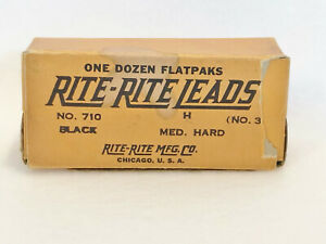 VINTAGE RITE-RITE LEADS - No. 710 BLACK - No. 3 H MED. HARD - ONE DOZEN FLATPAKS
