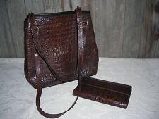 BRAHMIN Brown Croc Leather Shoulder Bag Purse and wallet Vintage