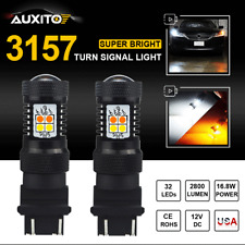 CREE 3157NA 3057A LED Switchback Dual Color WHITE AMBER Turn Signal Light 2800LM