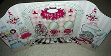 DOLL BACKDROP SWEET / SNACK SHOPPE AND BEAUTY SALON 2 SIDED FOR AMERICAN GIRL