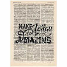 Make Today Amazing Word Art  Dictionary Print OOAK, Art, Inspirational Quote