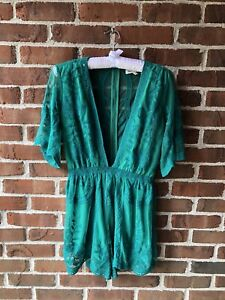 Honey Punch Embroidered Emerald Green Romper Size Small New