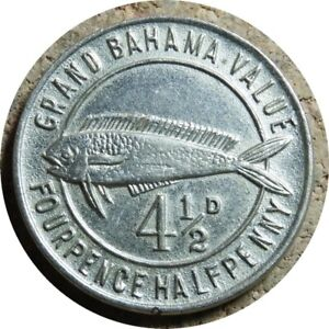 elf Bahamas Grand Bahamas Club 4 1/2 Pence (1950) Dolphin