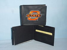 OKLAHOMA STATE COWBOYS   embroidered  Leather BiFold Wallet    NEW    black  --e