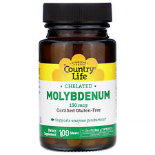 Country Life Chelated Molybdenum 150 mcg 100 Tablets B Corp, Gluten-Free, GMP