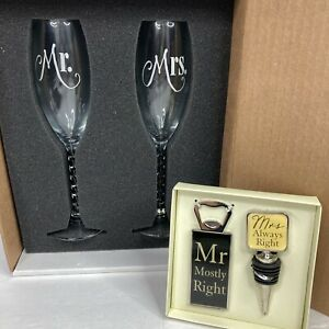 Marriage Couples Gifts- Wedding Champagne Glasses w/ Personalized Drinkware Set