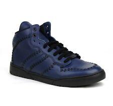 $750 Bottega Veneta Men's Navy Blue Stitched Leather Hi Top Sneakers 451597 4263