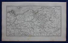 Original antique map, EASTERN PRUSSIA, POLAND, GDANSK, WARSAW, Dufour, 1859