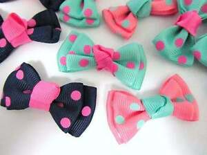 """45 Colorful Polka Dots 2"""" Wide Knot Center Double Grosgrain Ribbon Bow/Craft F7"""