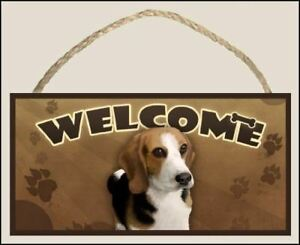 Beagle Welcome Dog Sign / Plaque featuring the art of Scott Rogers