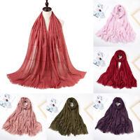 70x180cm Women Hijab Scarves Cotton Linen Long Soft Shawl Wrap Muslim Headscarf