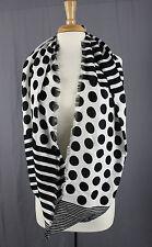 "Joan Rivers Black White Polka Dot & Striped Fringe Infinity Scarf  64"" x 18"""