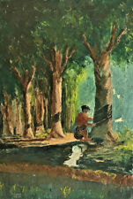 OLD OIL PAINTING ON CANVAS SIGNED JOHANAN COLLECTING SAP FROM TREES