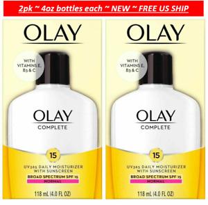 2 pack OLAY Complete Daily Moisturizer 4oz each + Vitamins E, B3, C +SPF 15 N...