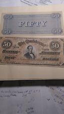 VINTAGE SOUVENIR CONFEDERATE MONEY Banknote $50 Richmond Bill 1864 Civil War
