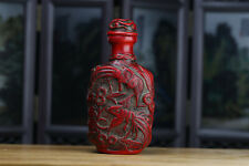 Chinese Red Coral Hand Carved Flowers & Phoenix Snuff Bottle