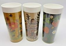 Thermo Serv Embroidered Mushroom Strawberry Flower Cups Lot 3 Tumblers USA