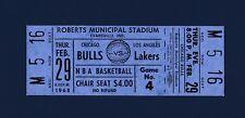 Chicago Bulls vs Los Angeles Lakers 1968 unused basketball ticket