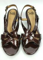 Sofft 7.5 womens shoes burgundy patent leather strappy wedge heels