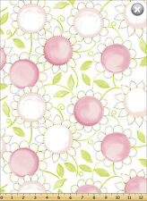 Susybee's Susy Sunflower Pink White Floral 100% cotton fabric by the yard