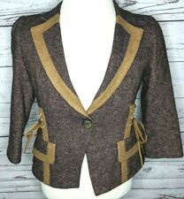 Nanette Lepore Purple Tweed Leather Embellished Blazer Wool Jacket Womens Sz 8