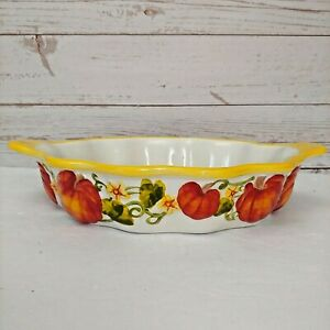 Temptations Presentable Ovenware PUMPKIN PATCH Pie Plate Dish FAST SHIPPING