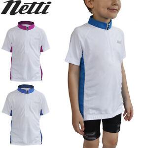Netti Mini You Kids Cycling Jersey - White Blue Pink - Kids sizes 4, 6, 8, 10