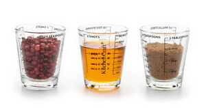 Kitchen Craft Glass Mini Measuring Cup -  ml, Teaspoon, Shots, fl oz, Tablespoon