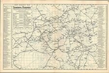 1881 RAILWAY MAP ~ LONDON & SUBURBS ~ COMPANY LINES & FULL STATION INDEX