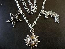 A Silver Tone Sun, Crescent Moon, Stars Amulet Charm Pendant Chain Necklace